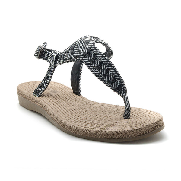 Sandalia plana mujer - negro