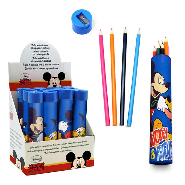 Tubo 12 lápices de colores Mickey