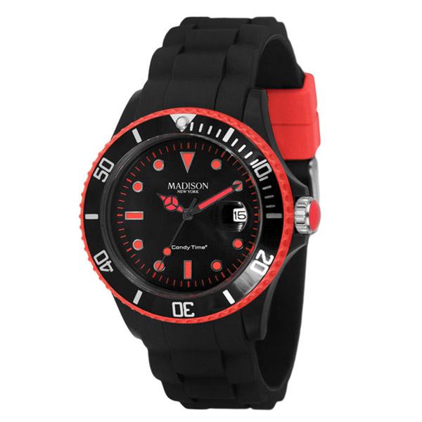 Reloj analógico caucho unisex - negro/rojo