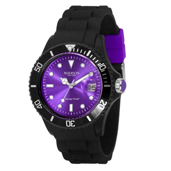 Reloj analógico caucho unisex - negro