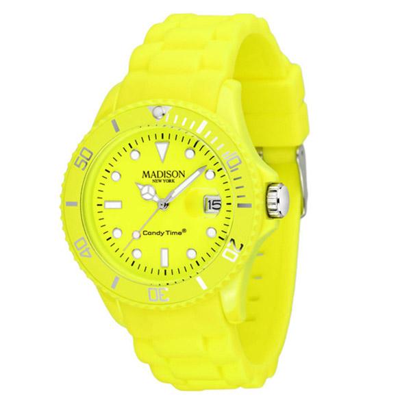 Reloj analógico caucho unisex - amarillo chillón