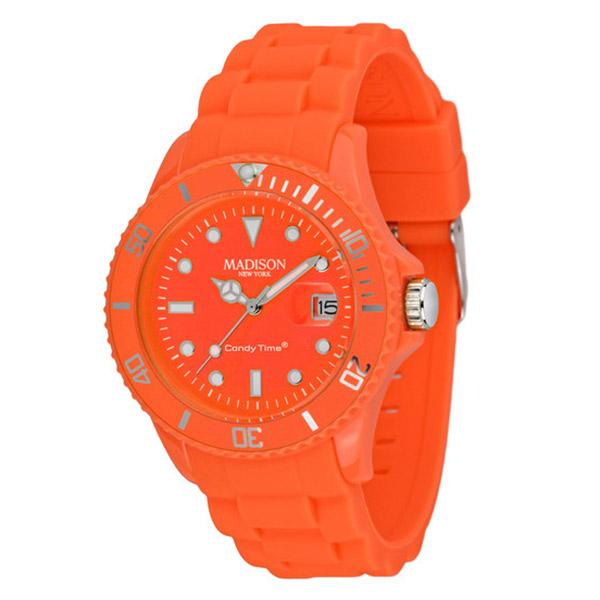 Reloj analógico caucho unisex - naranja chillón