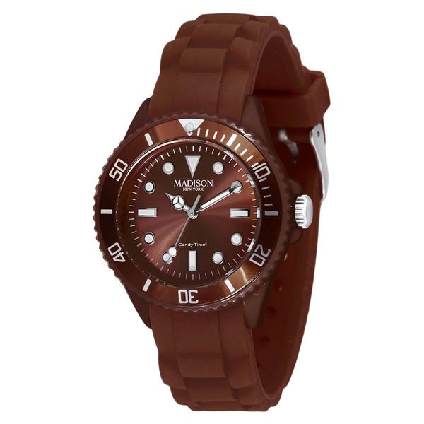 Reloj analógico caucho unisex - marrón/choco