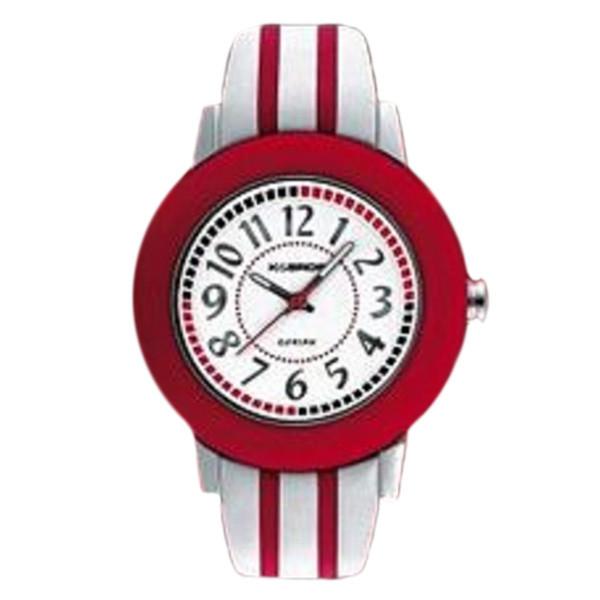 Reloj analógico mujer piel - rojo/blanco