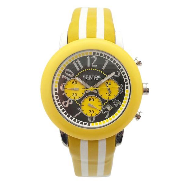 Reloj cronógrafo piel unisex - blanco/amarillo