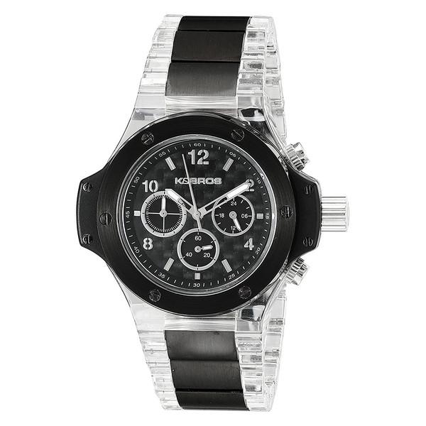 Reloj analógico acero hombre - negro/transparente