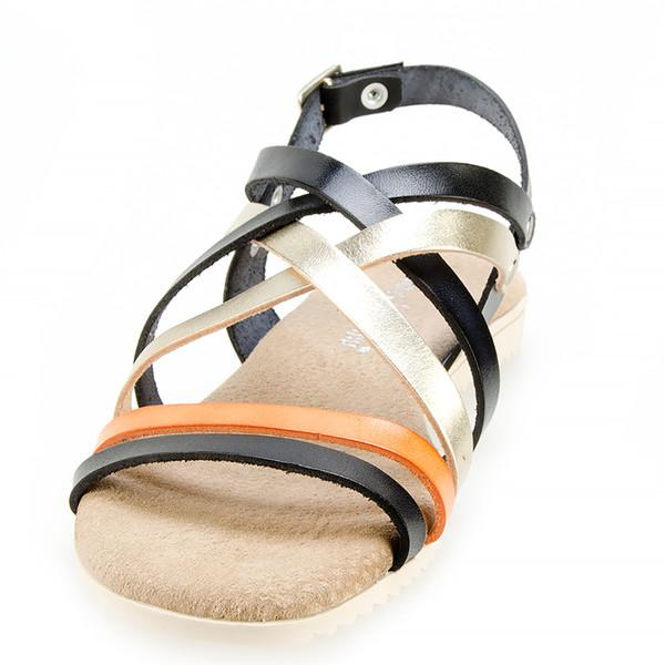Sandalia plana piel mujer - negro