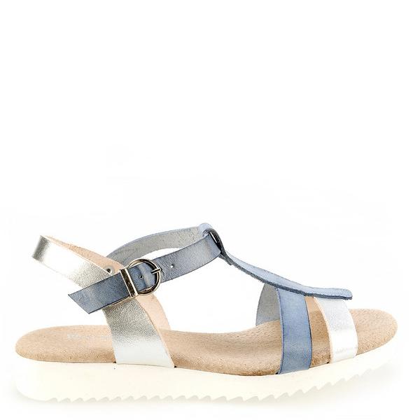 Sandalia plana metalizada mujer - azul