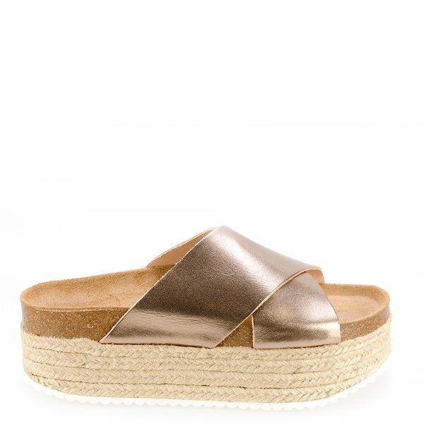 Sandalia plataforma mujer - cobre