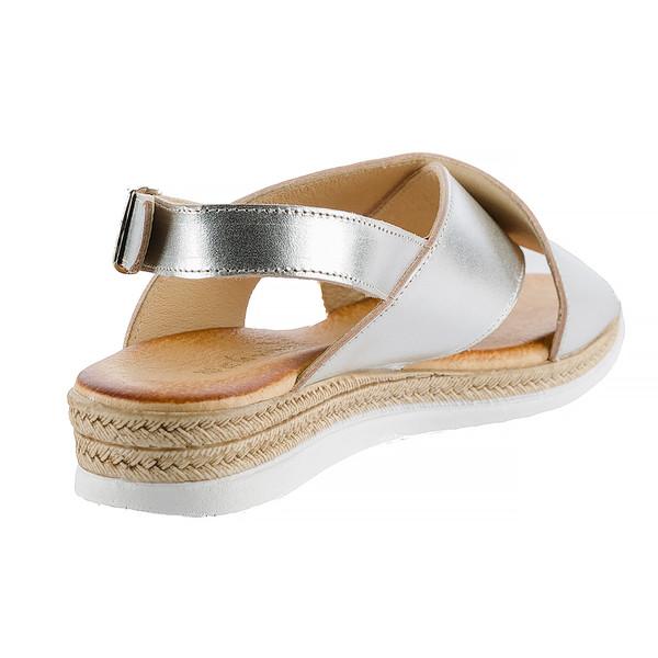Sandalia plana mujer - plateado