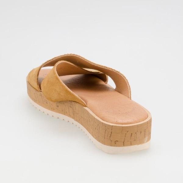 Sandalia plataforma piel - camel