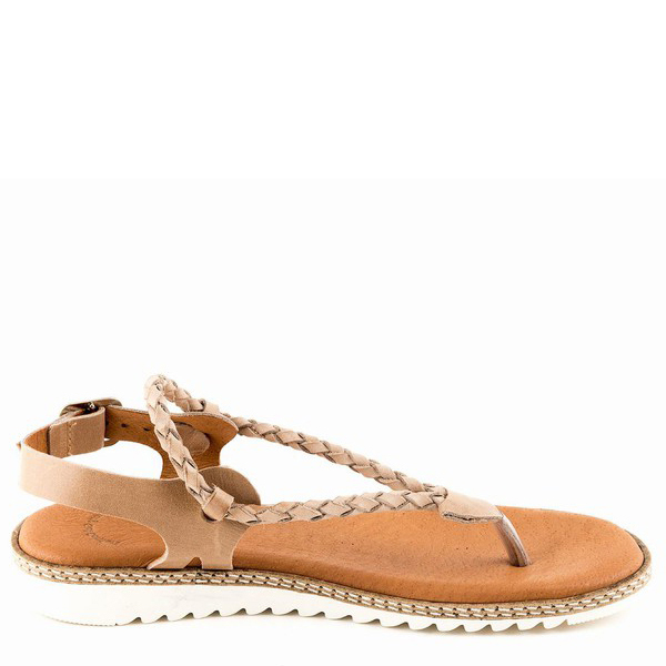 Sandalia plana piel - taupe