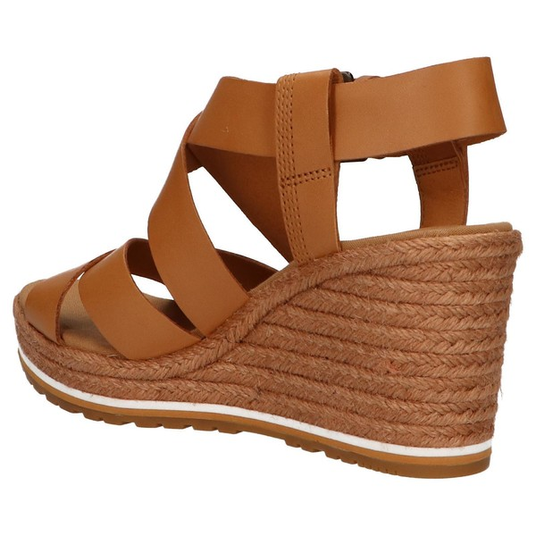 Sandalia cuña mujer piel - marrón
