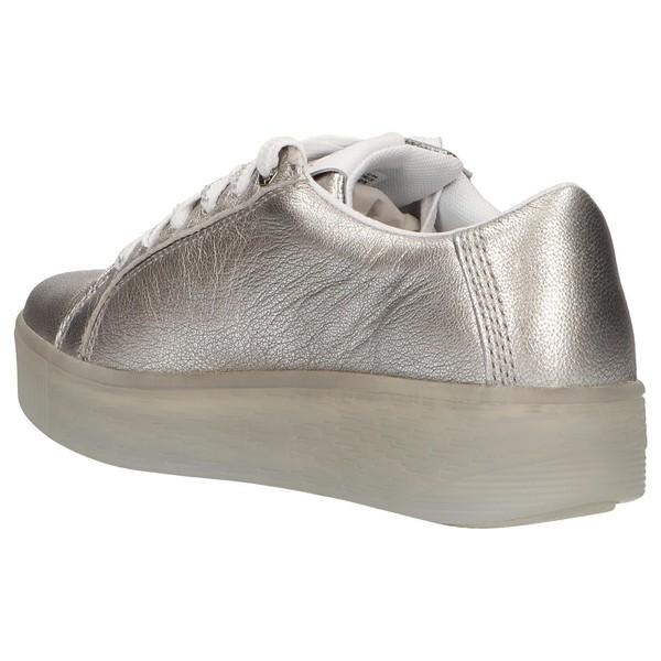4cm Sneaker cuña piel/textil mujer - plateado
