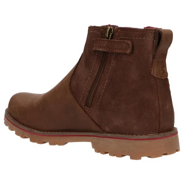 Botín piel/textil mujer - marrón