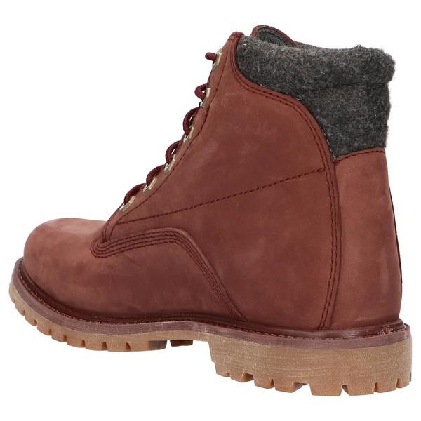 Bota piel/textil mujer - marrón