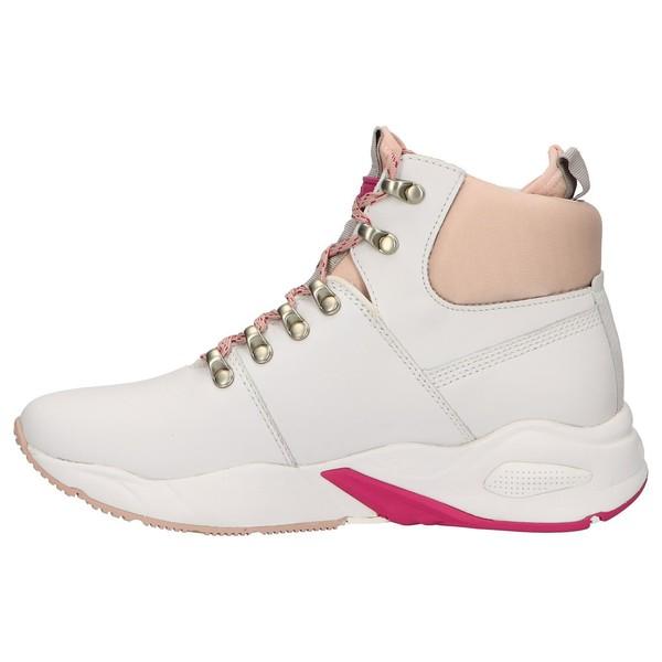 Sneaker piel/textil mujer - blanco