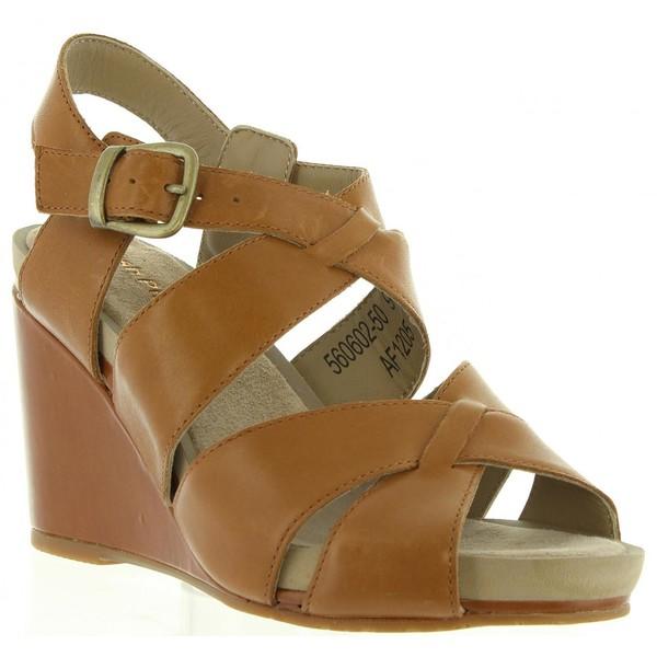 Sandalias cuña mujer - camel